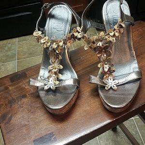 Platinum and Gold Wedge Sandals